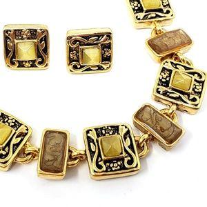 Kim Rogers Gold Yellow Stone Enamel Jewelry Set